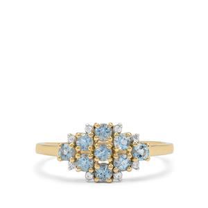 Santa Maria Aquamarine & White Zircon 9K Gold Ring ATGW 0.60ct