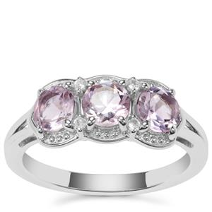 Rose du Maroc Amethyst Ring with White Zircon in Sterling Silver 1.34cts