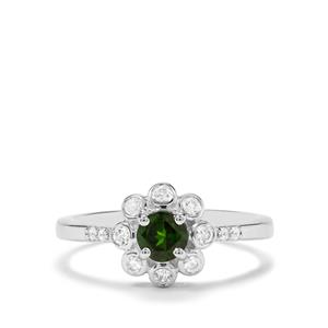 Chrome Diopside & White Zircon Sterling Silver Ring ATGW 0.68cts