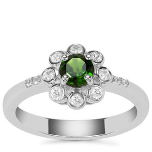 Chrome Diopside Ring with White Zircon in Sterling Silver 0.68ct