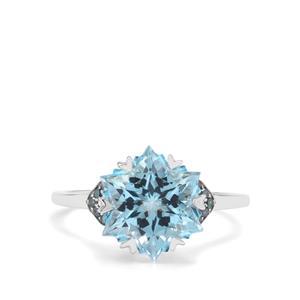 Wobito Snowflake Cut Sky Blue Topaz & Blue Diamond 9K White Gold Ring ATGW 5.56cts