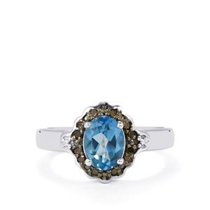 Santa Maria Topaz Ring with Champagne Diamond in Sterling Silver 1.55cts