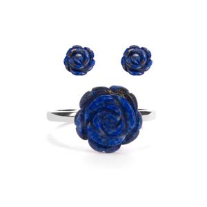 5ct Lapis Lazuli Sterling Silver Set of Ring & Earrings