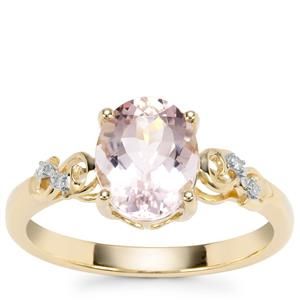 Nigerian Morganite Ring with Diamond in 9K Gold 1.73cts