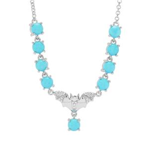 Sleeping Beauty Turquoise & White Zircon Sterling Silver Bat Necklace ATGW 4.59cts