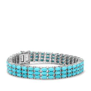 Sleeping Beauty Turquoise Bracelet in Platinum Plated Sterling Silver 19.35cts