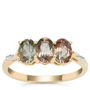 Peacock Parti Oregon Sunstone Ring with White Zircon in 9K Gold 1.33cts