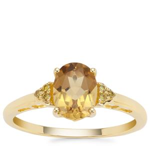 Xia Heliodor Ring with Yellow Diamond in 9K Gold 1.14cts