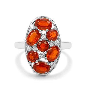 Loliondo Orange Kyanite & White Zircon Sterling Silver Ring ATGW 3.76cts