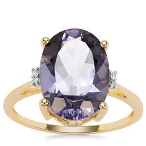 Montezuma Blue Quartz Ring with Diamond in 9K Gold 5.19cts