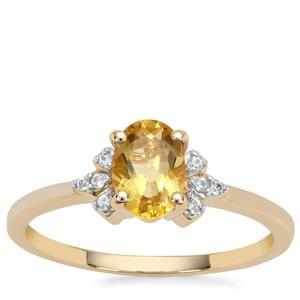 Golden Beryl Ring with White Zircon in 9K Gold 0.81ct