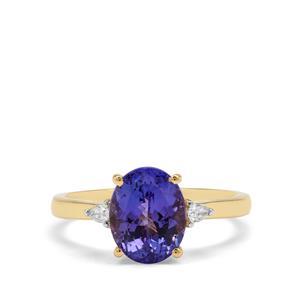 AAA Tanzanite & Diamond 18K Gold Tomas Rae Ring MTGW 3.34cts
