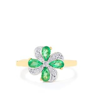 Zambian Emerald Ring with White Zircon in 10k Gold 0.74cts