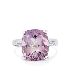 Rose De France Amethyst Ring with White Topaz in Sterling Silver 8.09cts