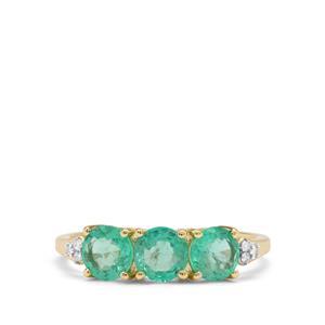 Ethiopian Emerald & Diamond 9K Gold Tomas Rae Ring ATGW 1.40cts