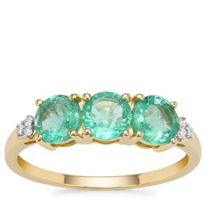 Ethiopian Emerald Ring with Diamond in 9K Gold 1.40cts