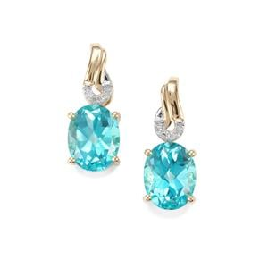 Batalha Topaz Earrings with Diamond in 9K Gold 4.43cts