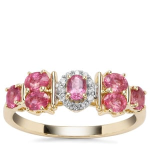 Padparadscha Sapphire Ring with White Zircon in 9K Gold 1.06cts