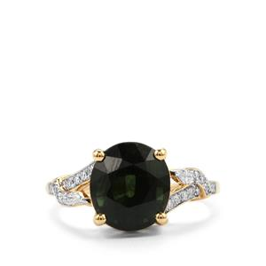 Green Tourmaline Ring with Diamond in 18K Gold 3.95cts