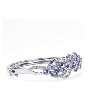 AA Tanzanite Oval Bangle with Diamond in Sterling Silver 6.20cts