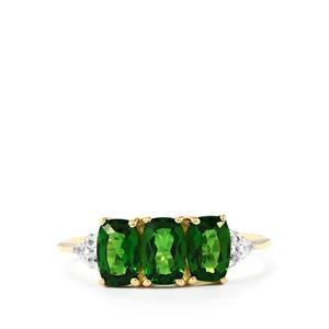 Chrome Diopside Ring with White Zircon in 10k Gold 1.76cts