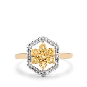 Mahenge Clinohumite Ring with White Zircon in 10k Gold 0.71cts