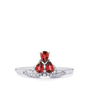 Red Spinel & White Zircon 9K White Gold Ring ATGW 0.61cts
