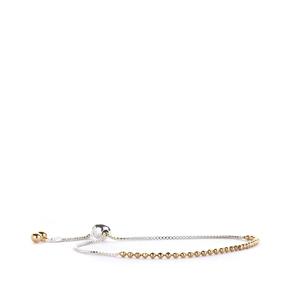 Sterling Silver & Gold Tone Beaded Slider Bracelet 4.8g