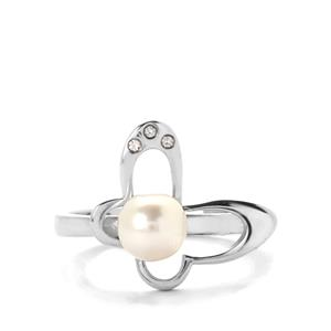 Akoya Cultured Pearl & White Topaz Sterling Silver Ring