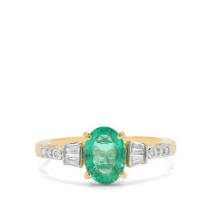 Ethiopian Emerald Ring with Diamond in 18K Gold 1.47cts