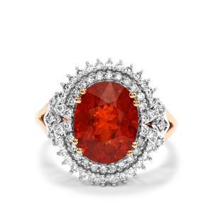 Mandarin Garnet Ring with Diamond in 18K Gold 5.79cts