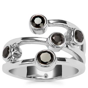 Black Spinel Ring in Sterling Silver 1.26ct
