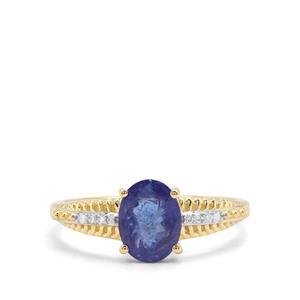 AAA Tanzanite & Diamond 9K Gold Ring ATGW 1.69cts