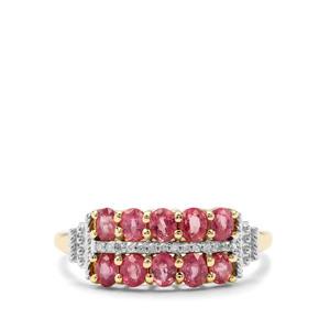 Padparadscha Sapphire & Diamond 9K Gold Ring ATGW 1.14cts