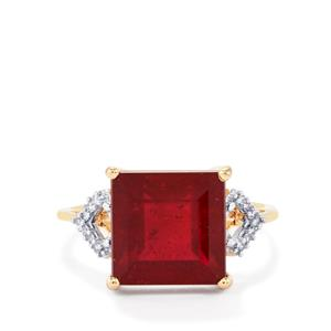 Malagasy Ruby Ring with Diamond in 9K Gold 8.12cts (F)