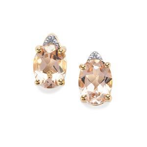 Alto Ligonha Morganite Earrings with Diamond in 10K Gold 2.09cts