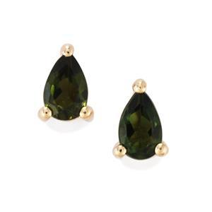 Chrome Tourmaline Earrings in 10K Gold 0.40ct