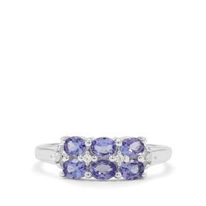 AA Tanzanite & White Zircon Sterling Silver Ring ATGW 0.95ct