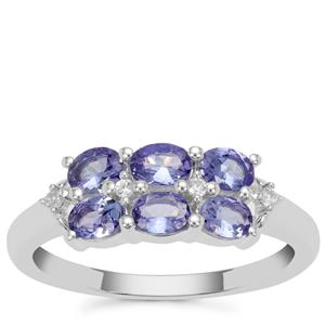 AA Tanzanite Ring with White Zircon in Sterling Silver 0.95ct