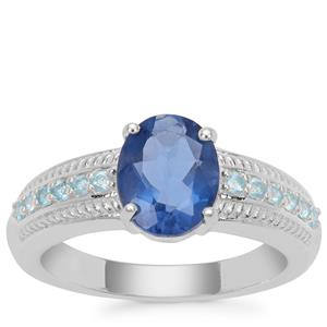 Colour Change Fluorite Ring with Swiss Blue Topaz in Sterling Silver 2.37cts