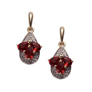 Winza Ruby Earrings with White Zircon in 9K Gold 1.31cts