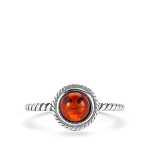 Baltic Cherry Amber Ring  in Sterling Silver 0.6ct