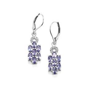 Tanzanite & White Topaz Sterling Silver Earrings ATGW 3.34cts
