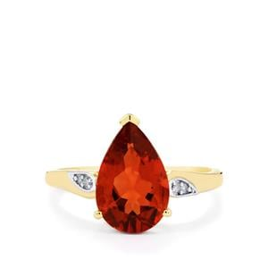 Tarocco Red Andesine Ring with Diamond in 10k Gold 2.28cts