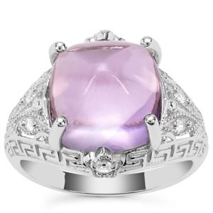 Rose De France Amethyst Ring with White Zircon in Sterling Silver 8.92cts