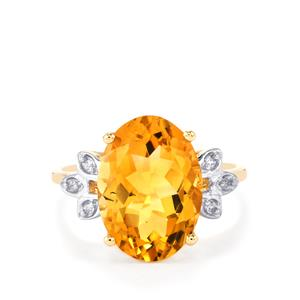 Diamantina Citrine Ring with White Zircon in 10k Gold 5.28cts
