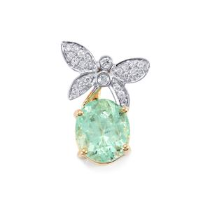 Colombian Emerald Pendant with Diamond in 18K Gold 1.94cts
