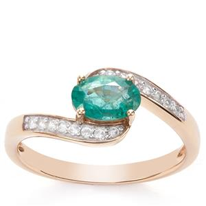 Zambian Emerald Ring with White Zircon in 9K Gold 0.97ct
