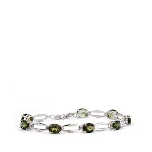 Moldavite Bracelet in Sterling Silver 8.09cts