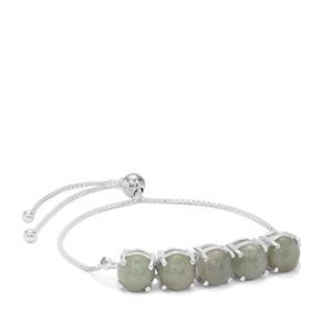 Burmese Jade Slider Bracelet in Sterling Silver 13cts
